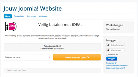 iDEAL voor Joomla! extensies zoals Virtuemart, HikaShop en RSForm Pro